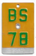Velonummer Mofanummer Basel Stadt BS 78 - Nummerplaten