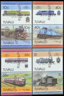 TUVALU 1985 Locomotives Railway Trains Ser.V SPECIMEN Se-tenant PAIRS:4 (8 Stamps) - Tuvalu