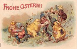 Frohe Ostern ! - Nains, Lutins, Gnomes - Poussins - Danse - Contours Des Personnage Dorés - Gaufrée - Pasqua
