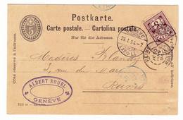 Carte Postale Suisse Albert Bruel Genève Reims Marne Madères Blandy 1894 Vin Wine - Briefe U. Dokumente