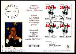 Liaison Postale VARSOVIE - STRASBOURG CONSEIL DE L'EUROPE - Lech WALESA - PRIX NOBEL - Cartas