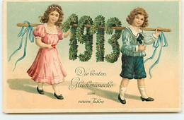 N°17996 - Carte Gaufrée - Die Besten Glückwünsche Zum Neuen Jahre - 1913 - Enfants - Anno Nuovo
