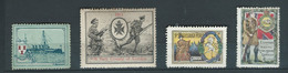 4 VIGNETTES DELANDRE Marine De Guerre Regiment Angleterre England War Boat  WWI WW1 Cinderellas Poster Stamps 1914 1918 - Military Heritage