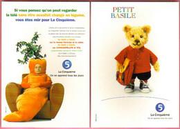 """2 Cartes Postales """"Cart'Com"""" (1998) La Cinquième (Petit Basile - Personnage Dans Une Carotte) - Reclame"""