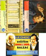 """3 Cartes Postales """"Cart'Com"""" (2000) La Cinquième, Une Télé Bien (livres, Napoléon, Einstein, Balzac) - Reclame"""