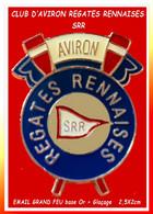 """SUPER PIN'S """"AVIRON"""" : SRR SOCIETE DES REGATES RENNAISES Sur """"La VILAINE"""", Fondée En 1867, Email Base Or + Glaçage 2X2,5 - Canottaggio"""