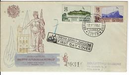 FILATELIA - SAN MARINO  FDC VENETIA - RARA - RILIEVO FOTOGRAMMETRICO - POSTA AEREA  - ANNO 1952  #00310 - FDC