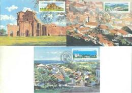 Brazil 1985 Complete Series 3 Maximum Card StampWorld Heritage Of HumanityArchitecture - Tarjetas – Máxima