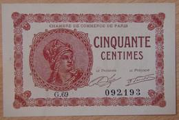 Paris ( 75 - Seine ) 50 Centimes Chambre De Commerce 10-03-1920 - Chambre De Commerce