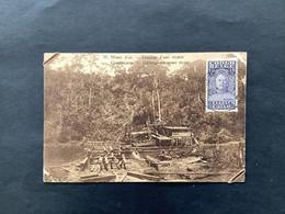 """OBP 136 Als Bijfrankering Op Postkaart 45c ELISABETHVILLE """"Goudmijnen, Uitbaggeren Eener Rivier"""" - 1923-44: Storia Postale"""