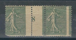 FRANCE N° 130 * Paire Mill. 8 Superbe Piquage à Cheval (1 Dent D'angle Absente) - 1903-60 Sower - Ligned
