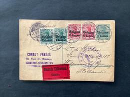 """OC2 (2x) + OC3 (2x) Op Postkaart EXPRES - BRUSSEL - GRONINGEN (NL) """"Auslandsstelle Aachen"""" - [OC1/25] Gen.reg."""