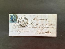 OBP 7 Medaillon 20c Op Brief P103 ST GHISLAIN - BRUXELLES - 1851-1857 Medaillen (6/8)