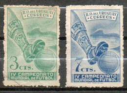 458 Uruguay 1950/51  Yvert 602/03  Usados Campeonato Mundial De Fútbol Brasil-Maracaná. - Uruguay