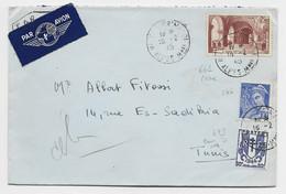 CHAINE 50C +N°546+661 RARE LETTRE AVION NICE  16.2.1945 POUR TUNISIE AU TARIF USAGE COURT AVEC 50C CHAINE - 1941-66 Coat Of Arms And Heraldry