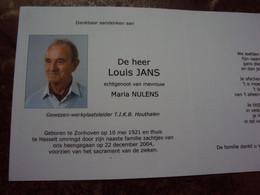Doodsprentje/Bidprentje Louis JANS  Zonhoven 1921-2004 Hasselt (Echtg M.NULENS) Gew Werplaatsleider TIKB Houthalen - Religion & Esotericism