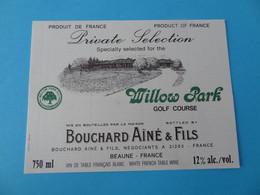 Etiquette Neuve Bouchard Cuvée Spéciale Pour Willow Park Golf Course - Sonstige