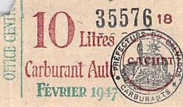 3 Tickets De Rationnement Essence Et Huile 1916.1947 - Non Classificati