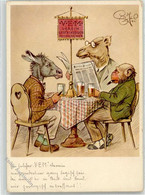 52586790 - Esel, Affe Vermenschlicht, Bier Trinken, Zeitung Lesen Sign. - Unclassified