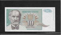 Yougoslavie - 10 Dinar - Pick N°138 - NEUF - Yougoslavie