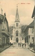 73 ALBERTVILLE. L'Eglise Avec Enfants Devant Le Café Leyssieux Et La Menuiserie - Albertville