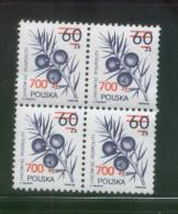 POLAND 1990 MEDICINAL PLANTS OVERPRINT ISSUED NHM BLOCK OF 4 - Ongebruikt