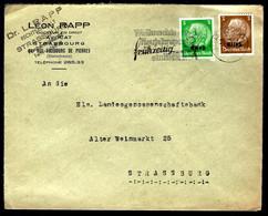 STRASBOURG - 1941 - 3 Et 5pf HINDENBOURG - CENSURE - FLAMME - Alsace-Lorraine