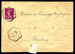 BOERSCH (Bas-Rhin) - 1933 - POUR STRASBOURG - 20c SEMEUSE - Alsace Lorraine