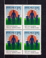 POLAND 1978 100th ANNIVERSARY Of JANUSZ KORCZAK'S BIRTH JUDAICA BLOCK Of 4 MNH - Ongebruikt