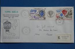F6 TAAF  BELLE LETTRE RECOM.1984 DUMONT D URVILLE EXPEDITIONS POLAIRES + BANDE DE T.P  A ROYAN FRANCE + AFFR. PLAISANT - Briefe U. Dokumente