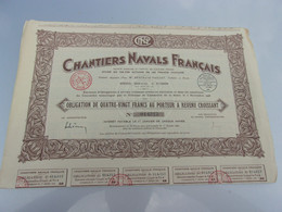 CHANTIERS NAVALS FRANCAIS (obligation 80 Francs) - Non Classificati