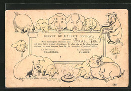 Künstler-AK Xavier Sager: Brevet De Parfait Cochon, Schweine - Sager, Xavier
