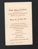 Saint Aignan (-41 Loir Et Cher) Menu 1911 Fête Républicaine  ALIX Hotel De La Gerbe D'Or (au Verso D'une CPA) (PPP29851) - Menus