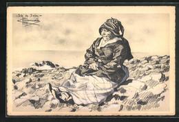 Künstler-AK Charles Homualk: Alte Frau Auf Einem Hügel Sitzend - Altre Illustrazioni