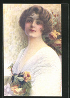 Künstler-AK C. Monestier: Hübsches Mädchen Mit Rosen Geschmückt - Monestier, C.