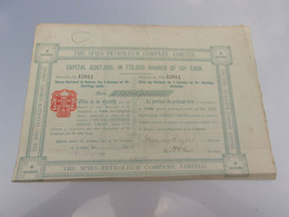 THE SPIES PETROLEUM COMPANY (titre 5 Actions) 1905 - Non Classificati