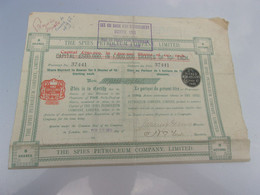 THE SPIES PETROLEUM COMPANY (titre 5 Actions) 1911 - Non Classificati