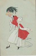 JEUNE  FEMME  ÉLÉGANTE  -  ( Signé  L  ROSEY  -  C P A  PEINTE  À  LA MAIN  ( 21 / 6 / 237  ) - Other Illustrators