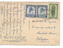 1287PR/ Ruanda-Urundi CP Lion TP Palmiers & Masques C.Ruhengeri 1951 > Moortsel Belgique - 1948-61: Briefe U. Dokumente