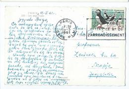 France Postcard Paris - Slogan / Flamme 1961 - Stamp Motive : Penguins, Marine Life - Lettres & Documents