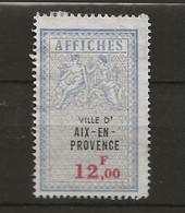 FISCAUX  AFFICHES VILLE D'AIX EN PROVENCE N°21 12FBLEU  NEUF - Fiscaux