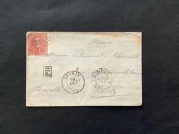 OBP 16 Op Briefomslag LP 266 NECHIN - Metz / Belg A Quievrain / PD - 1863-1864 Medallions (13/16)