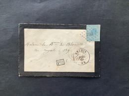 OBP 18 ONGETAND Op Rouwbriefje LP 266 NECHIN - Lille / FRANCE PAR TOURNAY - 1865-1866 Profile Left