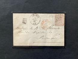 OBP 19 ONGETAND Op Rouwbriefje LP 266 NECHIN - Besancon / FRANCE PAR TOURNAY / Boite Rurale Z - 1865-1866 Profile Left