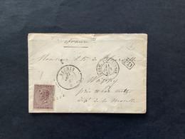 OBP 19 Op Briefomslag LP 266 NECHIN - Wappy (Metz) / FRANCE PAR TOURNAY / Boite Rurale Z - 1865-1866 Profile Left