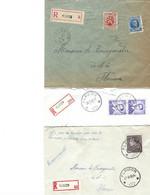 3 Let. Recommandées FLAVION  1931-1961-1960  Oblit. Relais étoiles - 1929-1937 Heraldic Lion