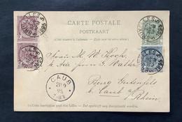 OBP 53 + 55 (2x) Op Postkaart Wapenschild 5c Grijs BRUXELLES 5 20 SEPT 1895 - CAUB (DE) - 1893-1907 Wappen