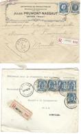 2 Let. Recommandées  De ANTHEE Années 1925 - 1940 Superbes - 1929-1937 Heraldic Lion