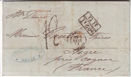 Lettre De BAHIA BRESIL 1872 Pour La France , TAXE 12 TAMPON Marque D'echange GB 1Fr 60 ,  TTB - 1849-1876: Période Classique