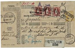 1889, 1 Fr. Selt. Weite Zähnung (Zumst. 71 B) , Seltener 3er Streifen, Paketkarte Nach USA , R !,  A5067 - Briefe U. Dokumente